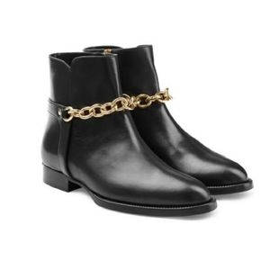 Burberry Leather Booties with Signature Gold Chain